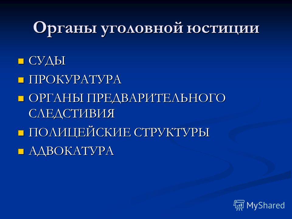 Органы уголовной юстиции СУДЫ СУДЫ ПРОКУРАТУРА ПРОКУРАТУРА ОРГАНЫ ПРЕДВАРИТЕЛЬНОГО СЛЕДСТИВИЯ ОРГАНЫ ПРЕДВАРИТЕЛЬНОГО СЛЕДСТИВИЯ ПОЛИЦЕЙСКИЕ СТРУКТУРЫ ПОЛИЦЕЙСКИЕ СТРУКТУРЫ АДВОКАТУРА АДВОКАТУРА