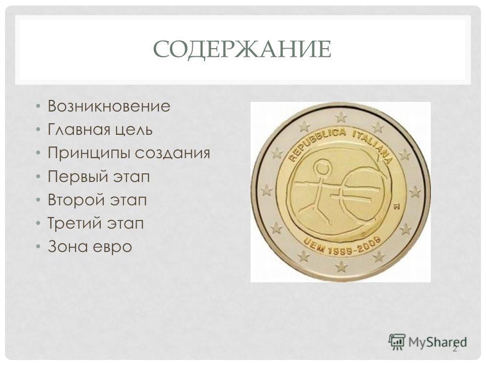 СОДЕРЖАНИЕ Возникновение Главная цель Принципы создания Первый этап Второй этап Третий этап Зона евро 2