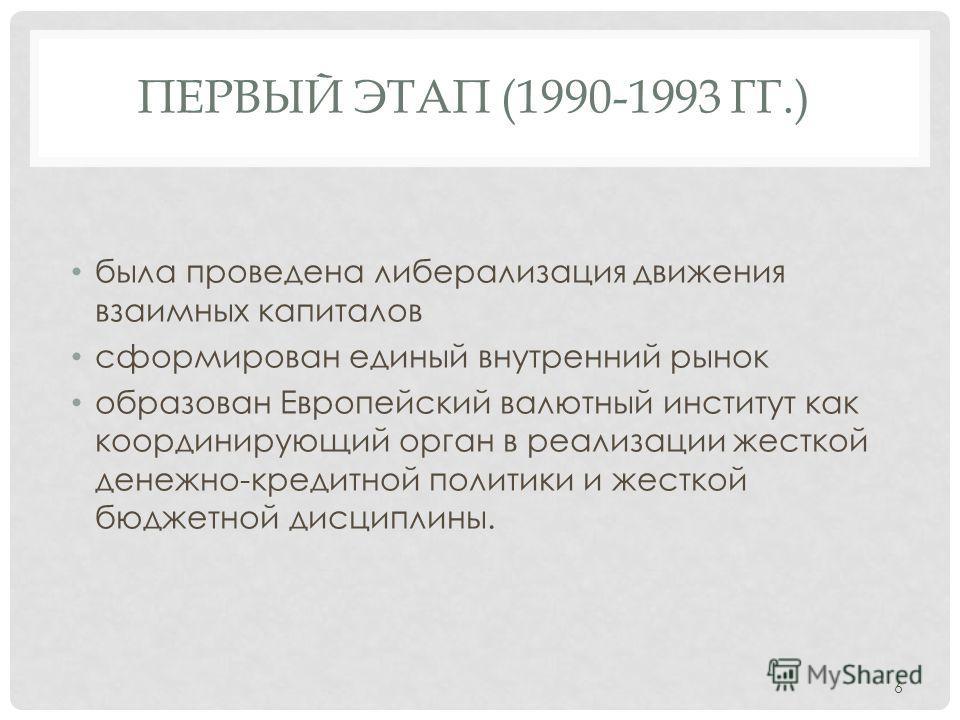 ПЕРВЫЙ ЭТАП (1990-1993 ГГ.) была проведена либерализация движения взаимных капиталов сформирован единый внутренний рынок образован Европейский валютный институт как координирующий орган в реализации жесткой денежно-кредитной политики и жесткой бюджет