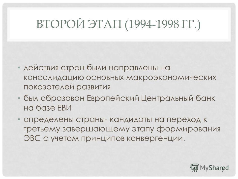 ВТОРОЙ ЭТАП (1994-1998 ГГ.) действия стран были направлены на консолидацию основных макроэкономических показателей развития был образован Европейский Центральный банк на базе ЕВИ определены страны- кандидаты на переход к третьему завершающему этапу ф