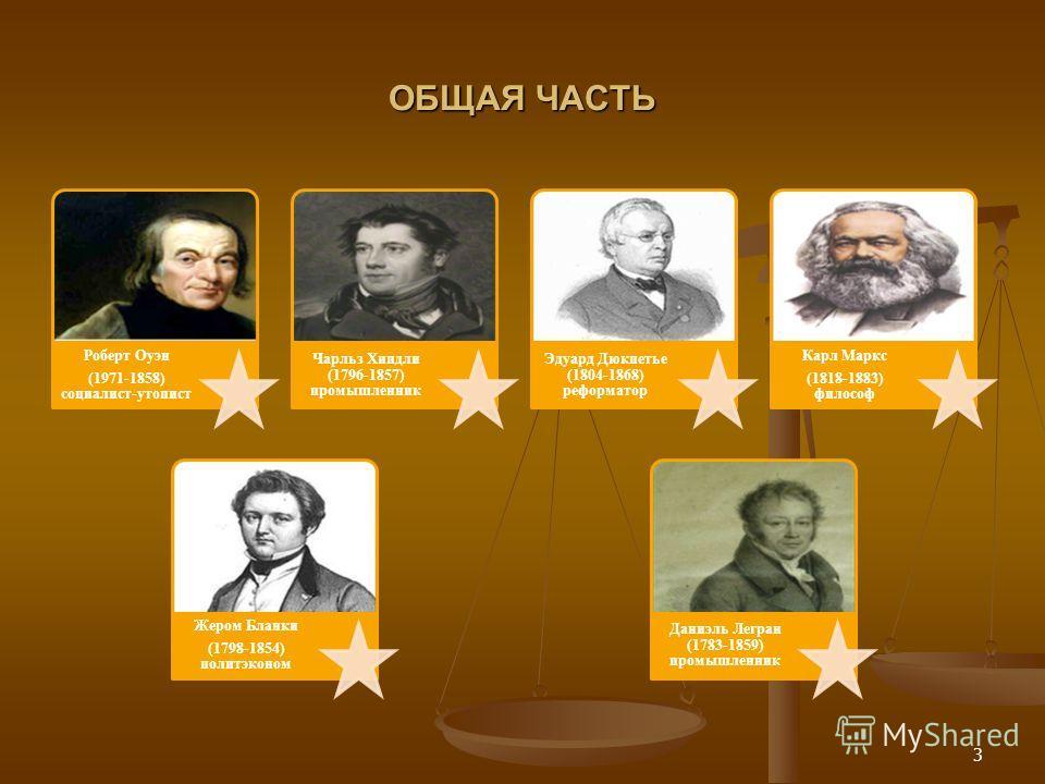 ОБЩАЯ ЧАСТЬ Роберт Оуэн (1971-1858) социалист-утопист Чарльз Хиндли (1796-1857) промышленник Жером Бланки (1798-1854) политэконом Эдуард Дюкпетье (1804-1868) реформатор Карл Маркс (1818-1883) философ Даниэль Легран (1783-1859) промышленник 3