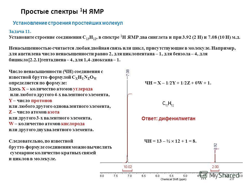 Простые спектры 1 Н ЯМР 29 Установление строения простейших молекул Задача 11. Установите строение соединения С 13 Н 12, в спектре 1 Н ЯМР два синглета и при 3.92 (2 H) и 7.08 (10 H) м.д. Ненасыщенностью считается любая двойная связь или цикл, присут