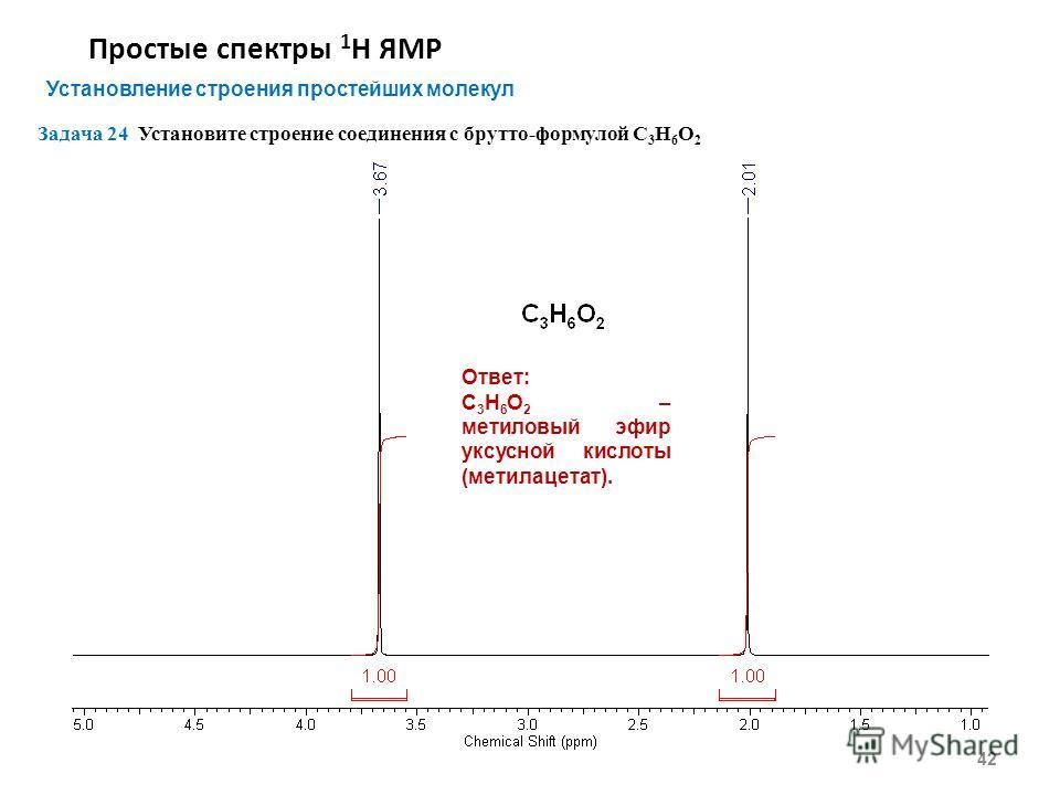 Простые спектры 1 Н ЯМР 42 Установление строения простейших молекул Задача 24 Установите строение соединения с брутто-формулой С 3 Н 6 O 2 Ответ: С 3 Н 6 O 2 – метиловый эфир уксусной кислоты (метилацетат).
