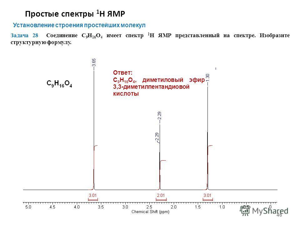 Простые спектры 1 Н ЯМР 46 Установление строения простейших молекул Задача 28 Соединение С 9 Н 16 О 4 имеет спектр 1 Н ЯМР представленный на спектре. Изобразите структурную формулу. Ответ: С 9 Н 16 О 4, диметиловый эфир 3,3-диметилпентандиовой кислот