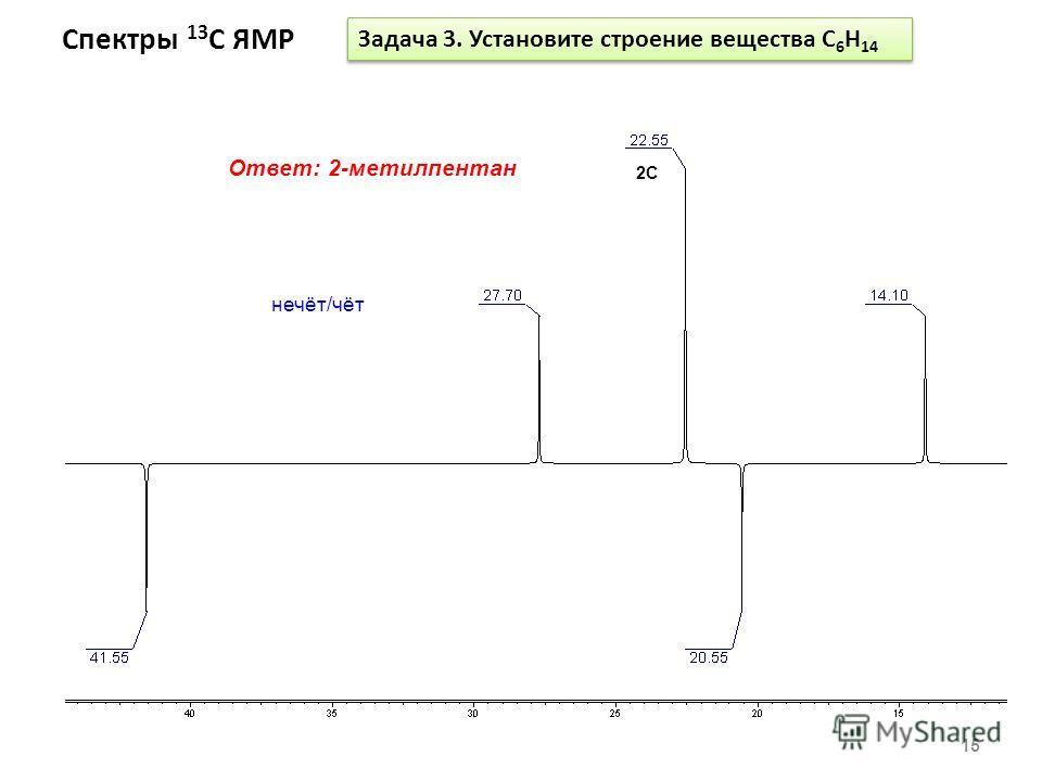 Спектры 13 С ЯМР 15 Задача 3. Установите строение вещества С 6 Н 14 Ответ: 2-метилпентан 2C нечёт/чёт