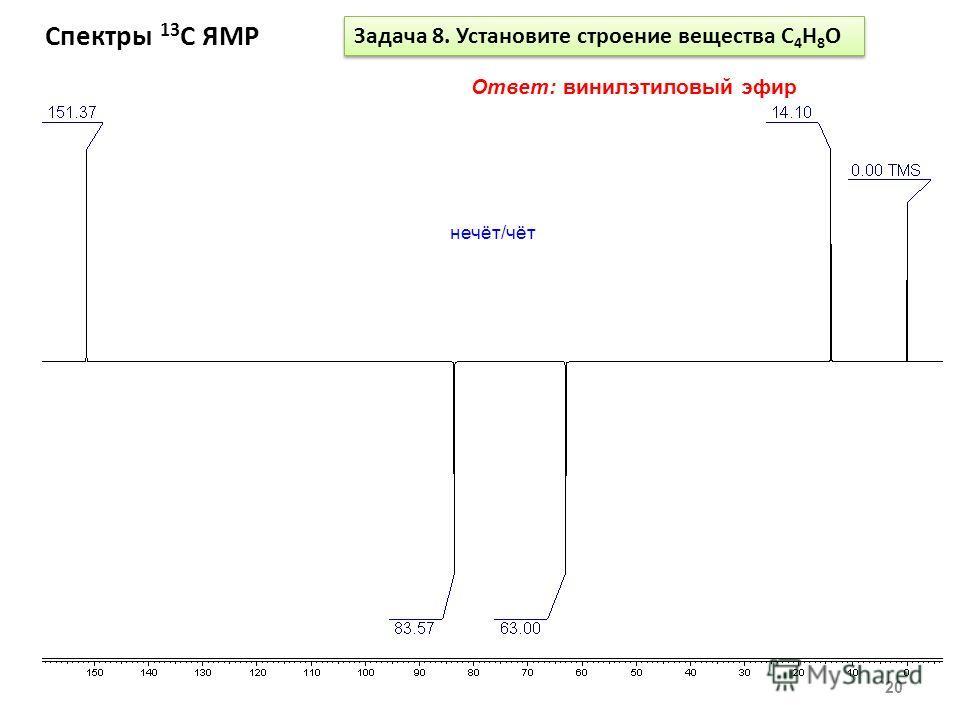 Спектры 13 С ЯМР 20 Задача 8. Установите строение вещества С 4 Н 8 О Ответ: винилэтиловый эфир нечёт/чёт