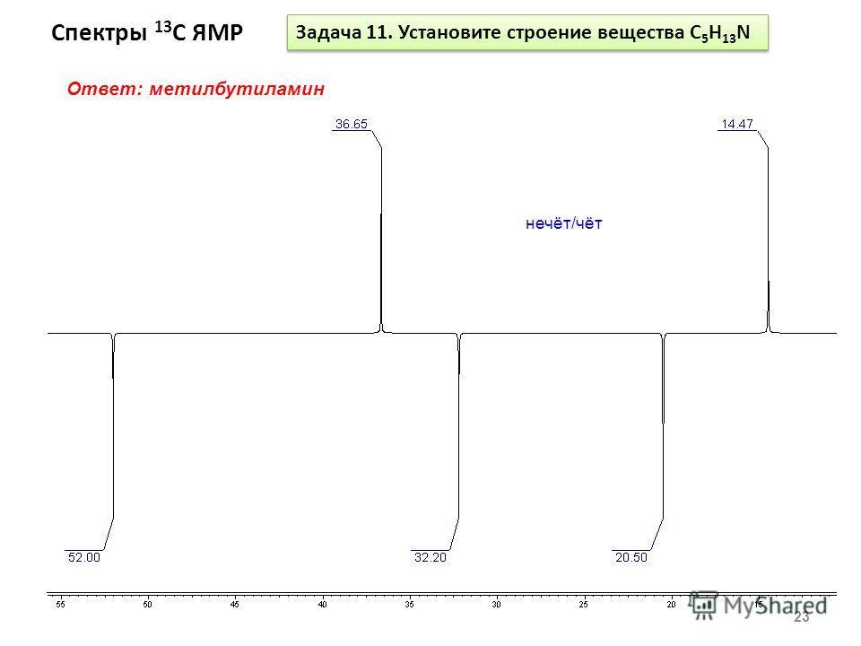 Спектры 13 С ЯМР 23 Задача 11. Установите строение вещества С 5 Н 13 N Ответ: метилбутиламин нечёт/чёт