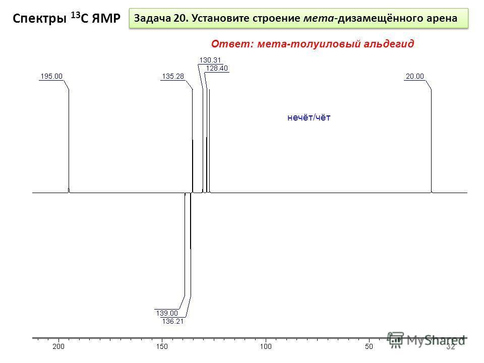 Спектры 13 С ЯМР 32 Задача 20. Установите строение мета-дизамещённого арена Ответ: мета-толуиловый альдегид нечёт/чёт