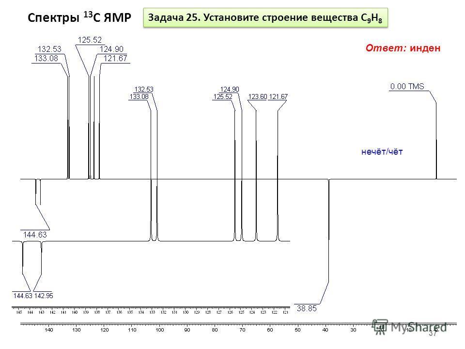 Спектры 13 С ЯМР 37 Задача 25. Установите строение вещества С 9 Н 8 Ответ: инден нечёт/чёт
