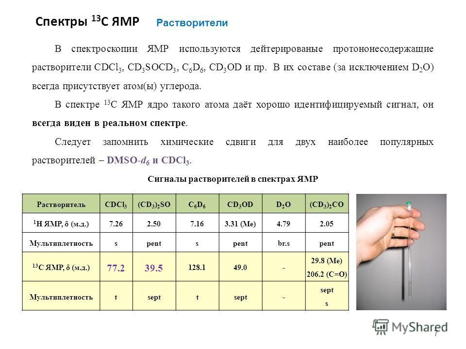 Спектры 13 С ЯМР 7 Растворители РастворительCDCl 3 (CD 3 ) 2 SOC6D6C6D6 CD 3 ODD2OD2O(CD 3 ) 2 СO 1 H ЯМР, δ (м.д.)7.267.262.507.163.31 (Me)4.792.05 Мультиплетностьspents br.spent 13 С ЯМР, δ (м.д.) 77.239.5 128.149.0- 29.8 (Me) 206.2 (С=О) Мультипле