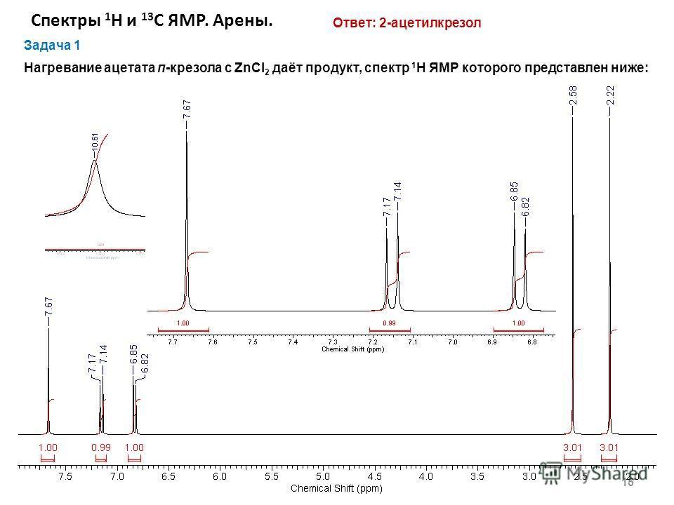 Спектры 1 Н и 13 С ЯМР. Арены. 15 Задача 1 Нагревание ацетата п-крезола с ZnCl 2 даёт продукт, спектр 1 H ЯМР которого представлен ниже: Ответ: 2-ацетилкрезол