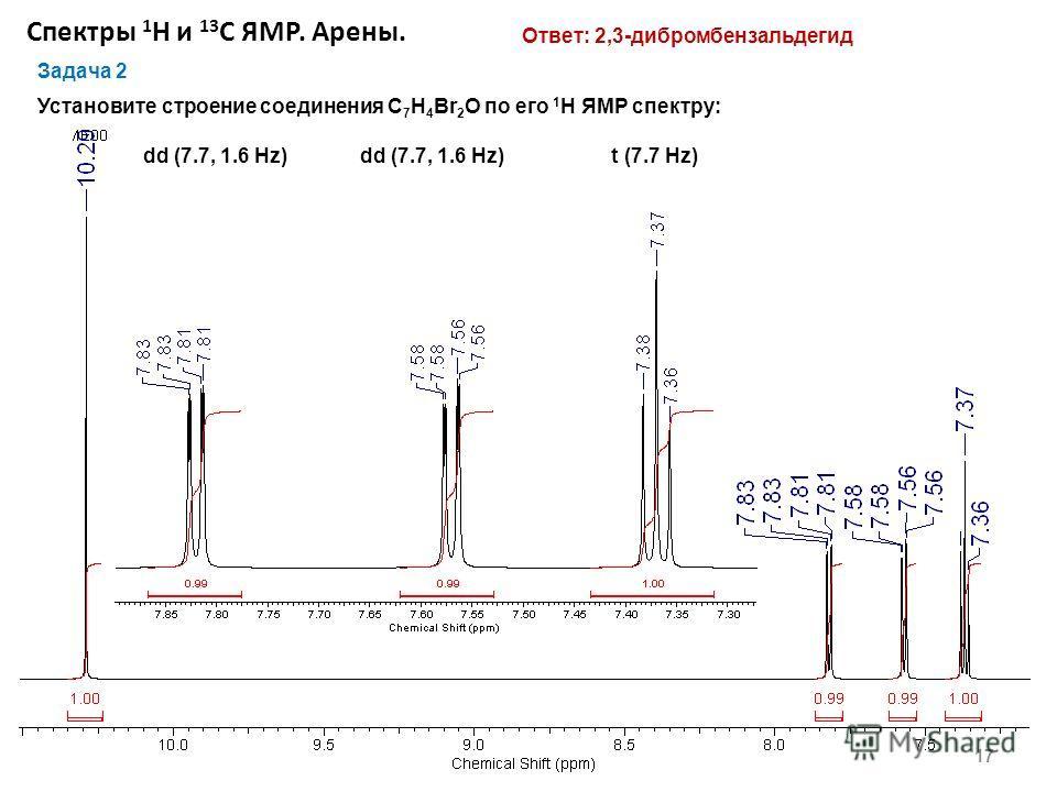 Спектры 1 Н и 13 С ЯМР. Арены. 17 Задача 2 Установите строение соединения С 7 H 4 Br 2 O по его 1 H ЯМР спектру: dd (7.7, 1.6 Hz) dd (7.7, 1.6 Hz) t (7.7 Hz) Ответ: 2,3-дибромбензальдегид