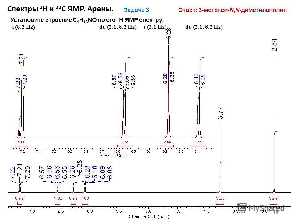 18 Задача 3 Установите строение С 9 H 13 NO по его 1 H ЯМР спектру: t (8.2 Hz)dd (2.1, 8.2 Hz) t (2.1 Hz) dd (2.1, 8.2 Hz) Ответ: 3-метокси-N,N-диметиланилин Спектры 1 Н и 13 С ЯМР. Арены.