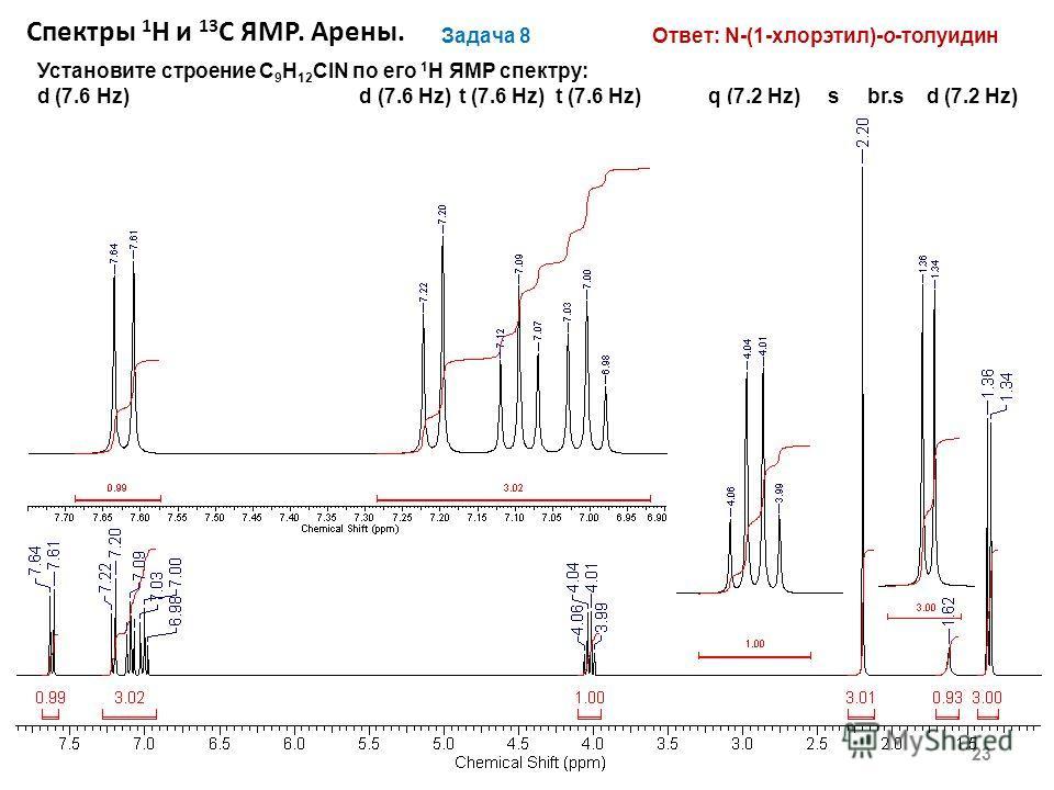 23 Задача 8 Установите строение С 9 H 12 ClN по его 1 H ЯМР спектру: d (7.6 Hz) d (7.6 Hz) t (7.6 Hz) t (7.6 Hz) q (7.2 Hz) s br.s d (7.2 Hz) Ответ: N-(1-хлорэтил)-о-толуидин Спектры 1 Н и 13 С ЯМР. Арены.