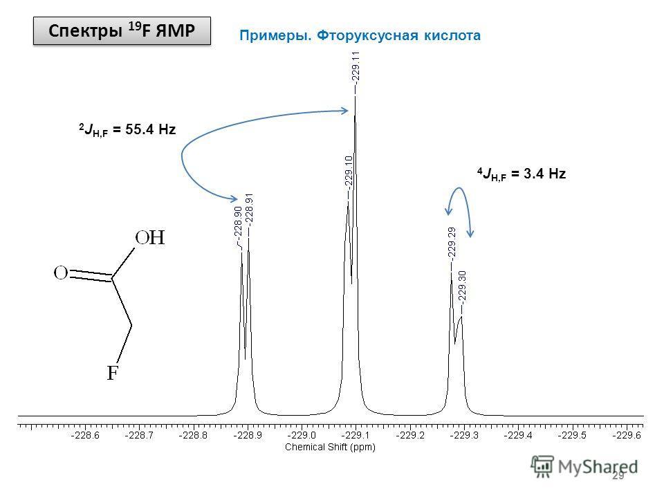 Спектры 19 F ЯМР 29 Примеры. Фторуксусная кислота 2 J H,F = 55.4 Hz 4 J H,F = 3.4 Hz