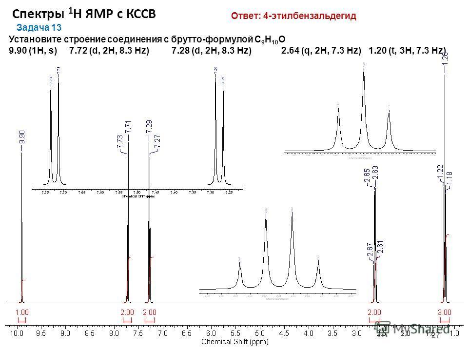 Спектры 1 Н ЯМР с КССВ 27 Задача 13 Установите строение соединения с брутто-формулой С 9 Н 10 O 9.90 (1Н, s) 7.72 (d, 2Н, 8.3 Hz) 7.28 (d, 2Н, 8.3 Hz) 2.64 (q, 2H, 7.3 Hz) 1.20 (t, 3Н, 7.3 Hz) Ответ: 4-этилбензальдегид