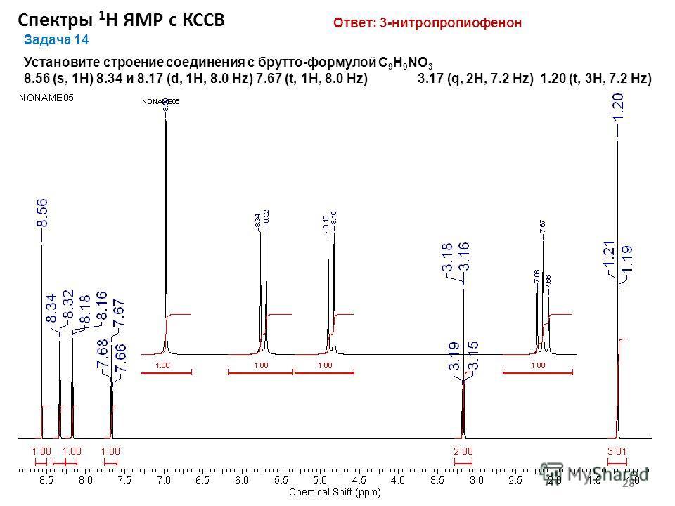 Спектры 1 Н ЯМР с КССВ 28 Задача 14 Установите строение соединения с брутто-формулой С 9 Н 9 NO 3 8.56 (s, 1H) 8.34 и 8.17 (d, 1H, 8.0 Hz) 7.67 (t, 1H, 8.0 Hz) 3.17 (q, 2Н, 7.2 Hz) 1.20 (t, 3Н, 7.2 Hz) Ответ: 3-нитропропиофенон