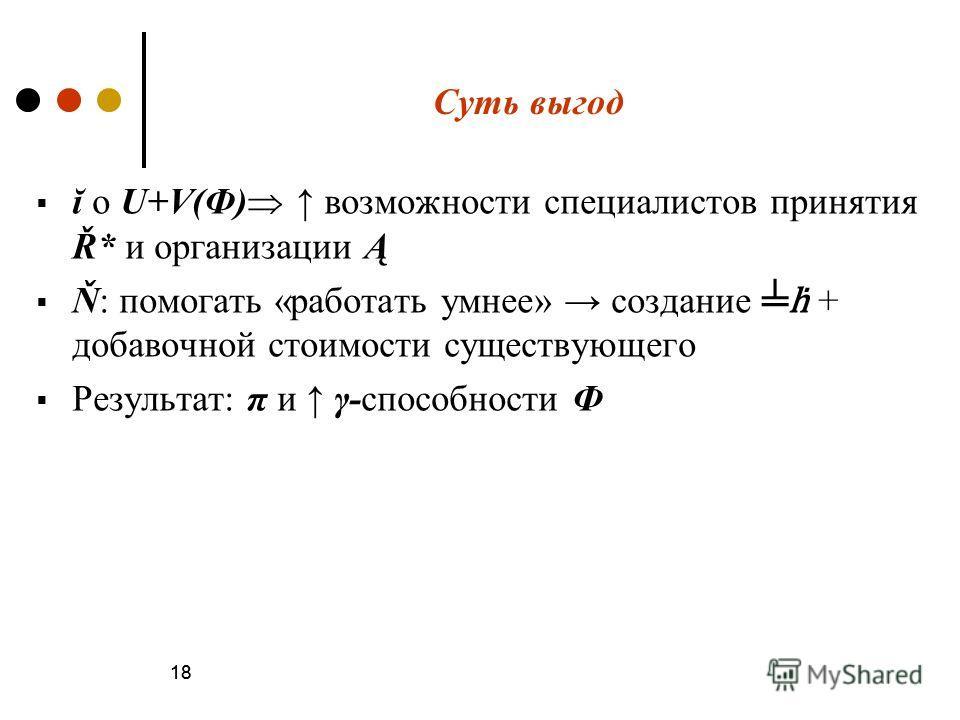 18 Суть выгод ĭ о U+V(Ф) возможности специалистов принятия Ř* и организации Ą Ň: помогать «работать умнее» создание + добавочной стоимости существующего Результат: π и γ-способности Ф 18