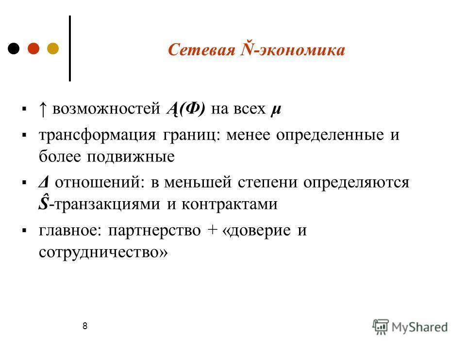 Сетевая Ň-экономика возможностей Ą(Ф) на всех μ трансформация границ: менее определенные и более подвижные Δ отношений: в меньшей степени определяются Ŝ-транзакциями и контрактами главное: партнерство + «доверие и сотрудничество» 8