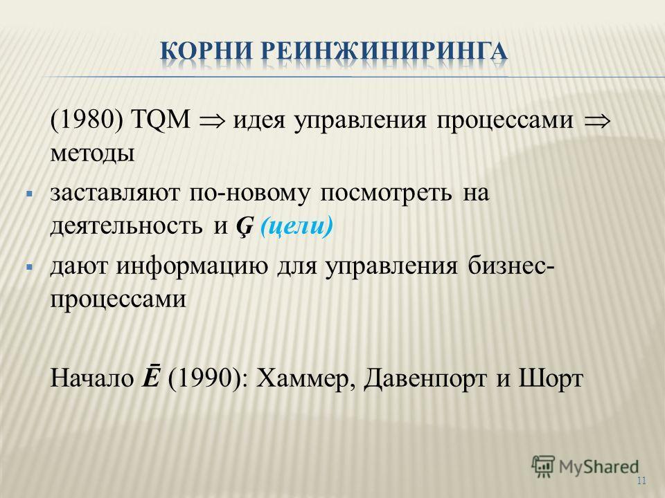 (1980) TQM идея управления процессами методы заставляют по-новому посмотреть на деятельность и Ģ ( цели) дают информацию для управления бизнес- процессами Начало Ē (1990): Хаммер, Давенпорт и Шорт 11