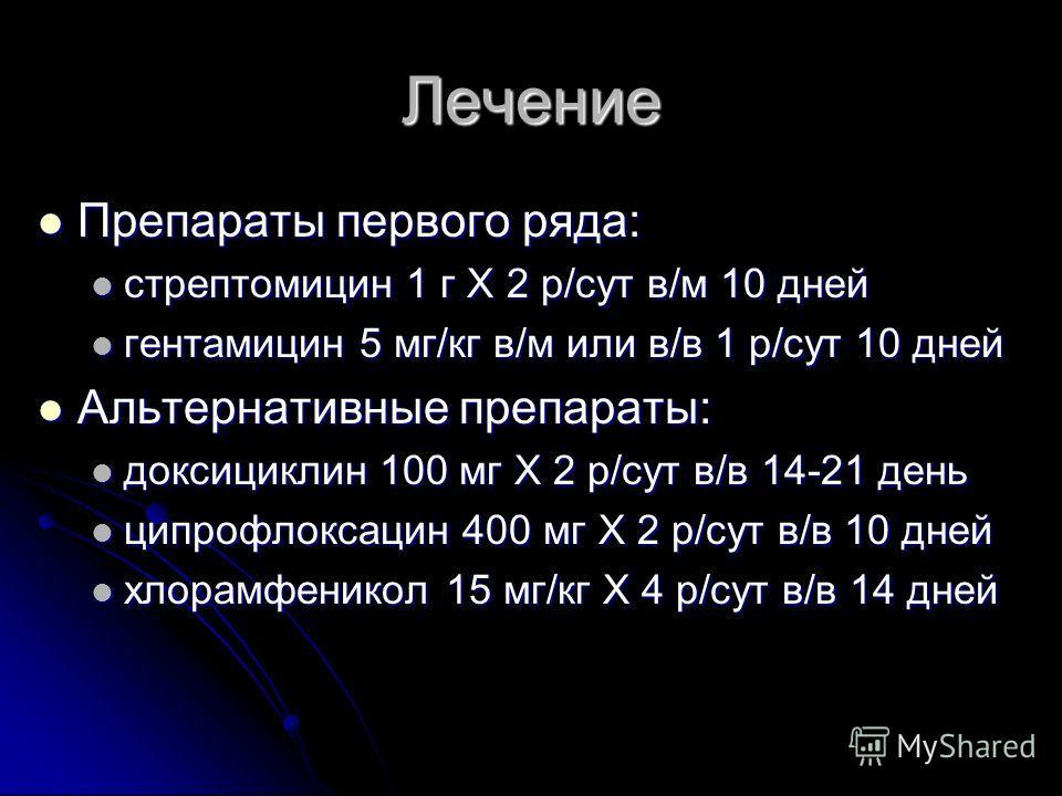Лечение Препараты первого ряда: Препараты первого ряда: стрептомицин 1 г Х 2 р/сут в/м 10 дней стрептомицин 1 г Х 2 р/сут в/м 10 дней гентамицин 5 мг/кг в/м или в/в 1 р/сут 10 дней гентамицин 5 мг/кг в/м или в/в 1 р/сут 10 дней Альтернативные препара