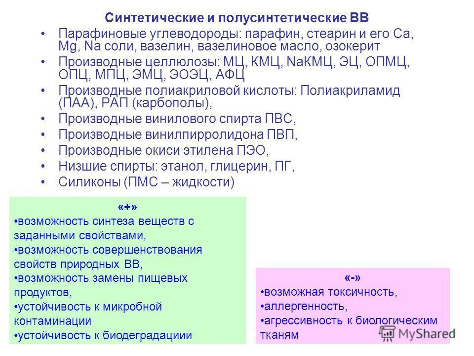 7 Синтетические и полусинтетические ВВ Парафиновые углеводороды: парафин, стеарин и его Ca, Mg, Na соли, вазелин, вазелиновое масло, озокерит Производные целлюлозы: МЦ, КМЦ, NaКМЦ, ЭЦ, ОПМЦ, ОПЦ, МПЦ, ЭМЦ, ЭОЭЦ, АФЦ Производные полиакриловой кислоты: