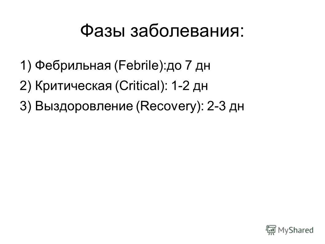 Фазы заболевания: 1) Фебрильная (Febrile):до 7 дн 2) Критическая (Critical): 1-2 дн 3) Выздоровление (Recovery): 2-3 дн