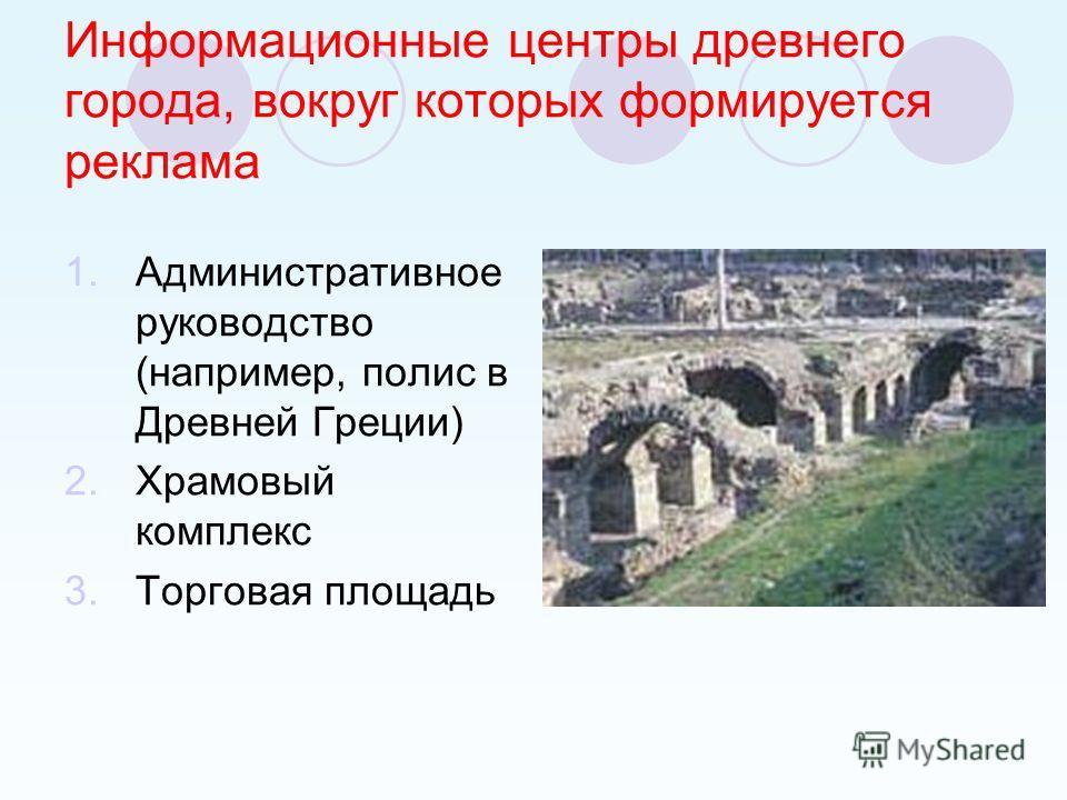 Информационные центры древнего города, вокруг которых формируется реклама 1.Административное руководство (например, полис в Древней Греции) 2.Храмовый комплекс 3.Торговая площадь