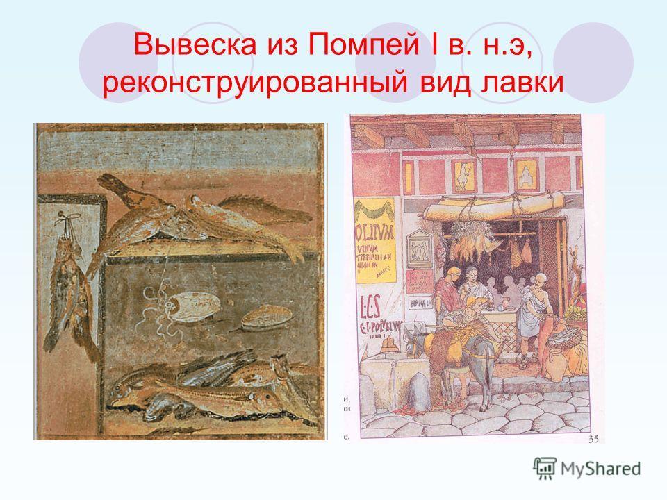 Вывеска из Помпей I в. н.э, реконструированный вид лавки