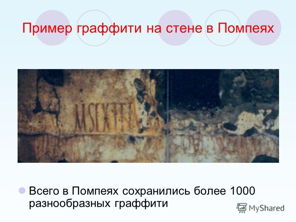 Пример граффити на стене в Помпеях Всего в Помпеях сохранились более 1000 разнообразных граффити