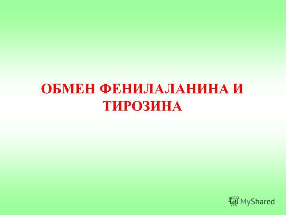 ОБМЕН ФЕНИЛАЛАНИНА И ТИРОЗИНА