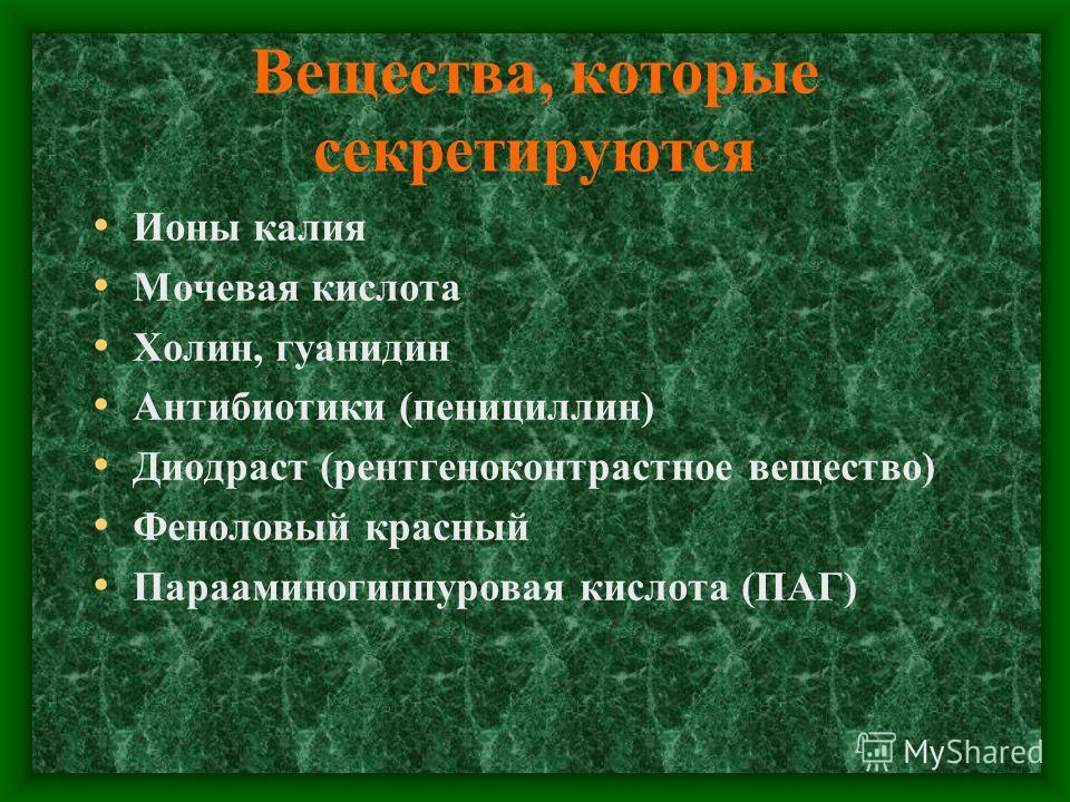 Вещества, которые секретируются Ионы калия Мочевая кислота Холин, гуанидин Антибиотики (пенициллин) Диодраст (рентгеноконтрастное вещество) Феноловый красный Парааминогиппуровая кислота (ПАГ)