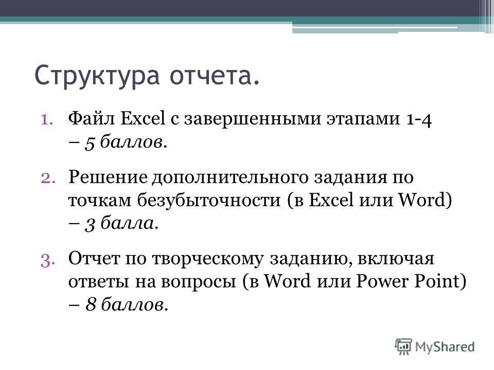Структура отчета. 1.Файл Excel с завершенными этапами 1-4 – 5 баллов. 2.Решение дополнительного задания по точкам безубыточности (в Excel или Word) – 3 балла. 3.Отчет по творческому заданию, включая ответы на вопросы (в Word или Power Point) – 8 балл
