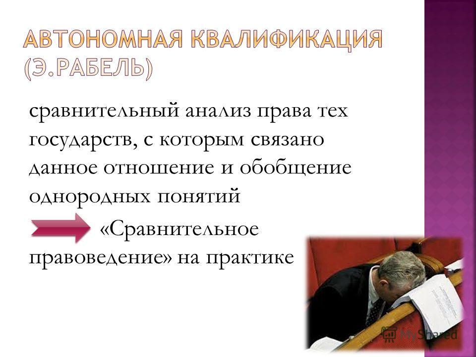 сравнительный анализ права тех государств, с которым связано данное отношение и обобщение однородных понятий «Сравнительное правоведение» на практике