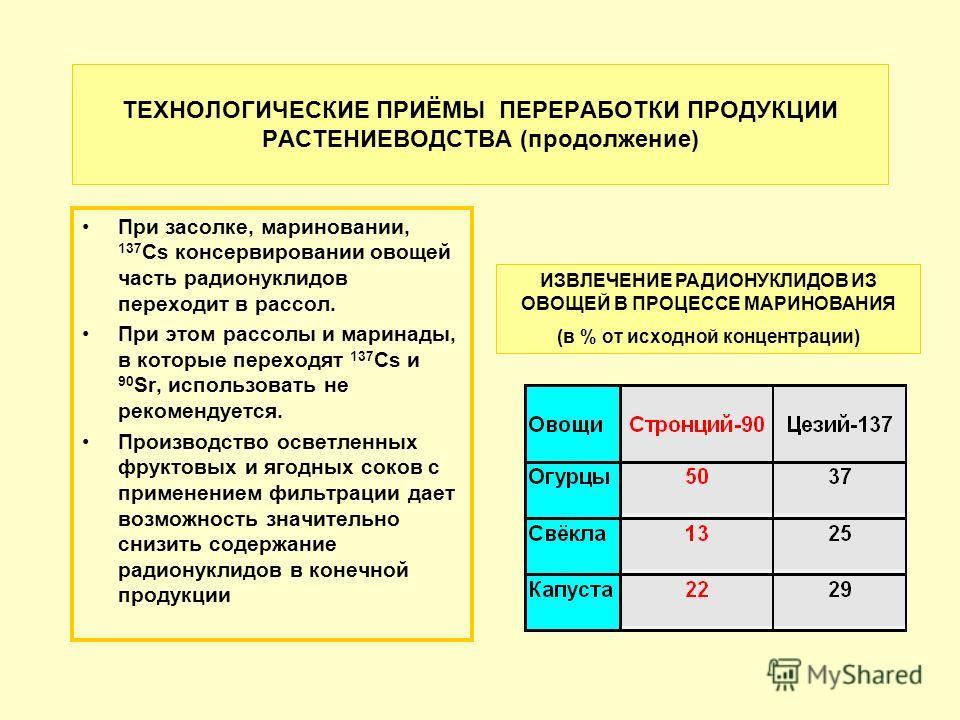 ТЕХНОЛОГИЧЕСКИЕ ПРИЁМЫ ПЕРЕРАБОТКИ ПРОДУКЦИИ РАСТЕНИЕВОДСТВА (продолжение) При засолке, мариновании, 137 Cs консервировании овощей часть радионуклидов