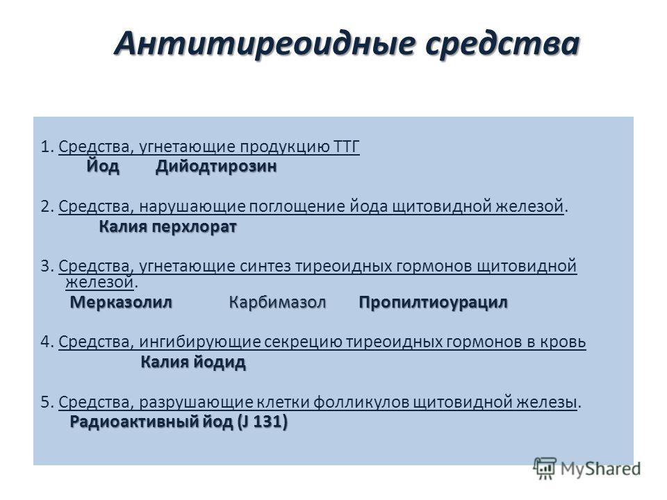 Антитиреоидные средства 1. Средства, угнетающие продукцию ТТГ Йод Дийодтирозин 2. Средства, нарушающие поглощение йода щитовидной железой. Калия перхлорат Калия перхлорат 3. Средства, угнетающие синтез тиреоидных гормонов щитовидной железой. Мерказол