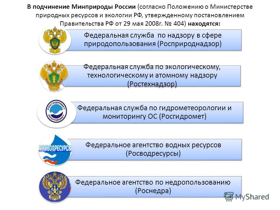 В подчинение Минприроды России (согласно Положению о Министерстве природных ресурсов и экологии РФ, утвержденному постановлением Правительства РФ от 29 мая 2008г. 404) находятся: Федеральная служба по надзору в сфере природопользования (Росприроднадз
