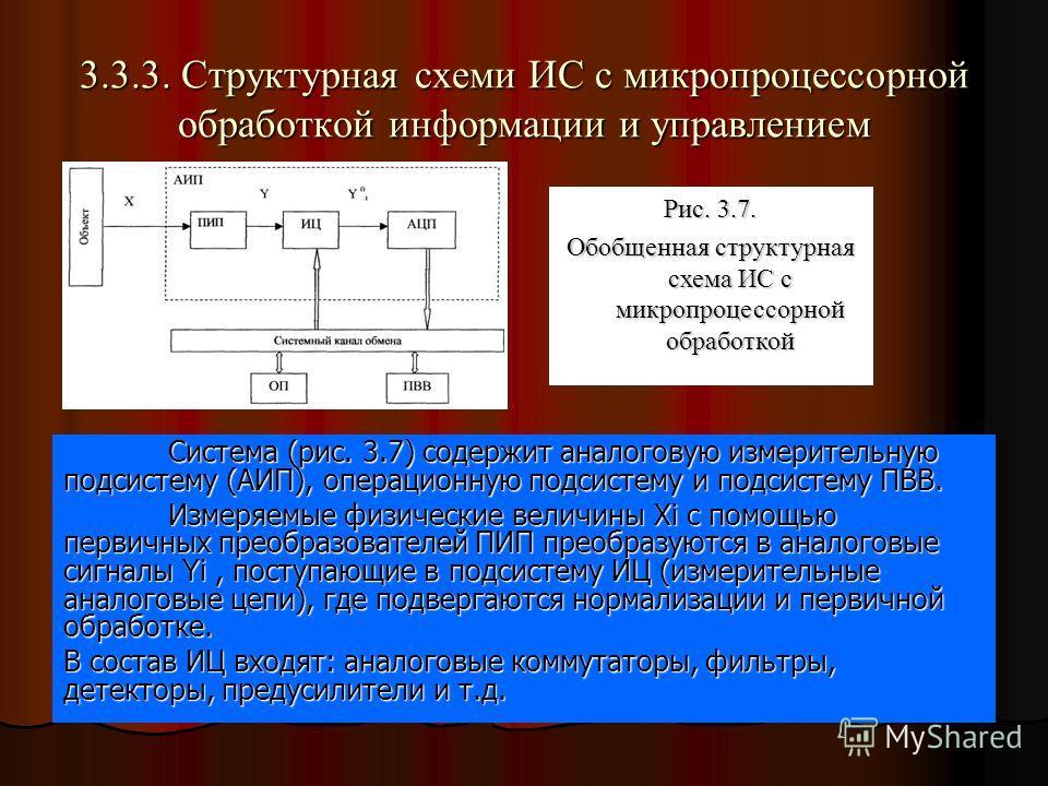 3.3.3. Структурная схеми ИС с микропроцессорной обработкой информации и управлением Система (рис. 3.7) содержит аналоговую измерительную подсистему (АИП), операционную подсистему и подсистему ПВВ. Измеряемые физические величины Xi с помощью первичных