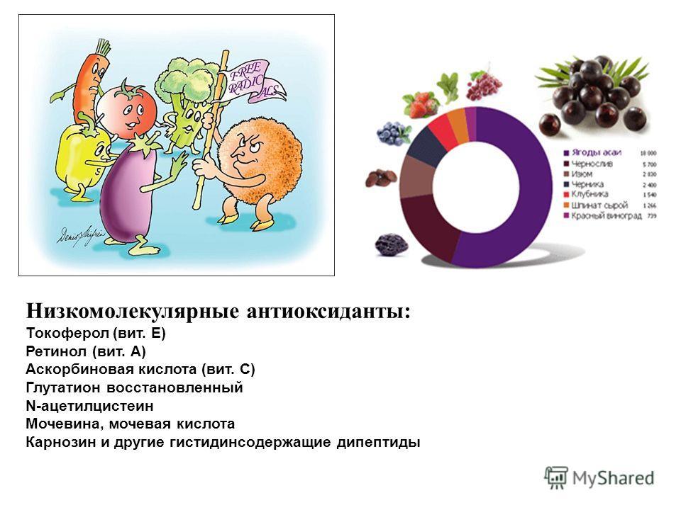 Низкомолекулярные антиоксиданты: Токоферол (вит. Е) Ретинол (вит. А) Аскорбиновая кислота (вит. С) Глутатион восстановленный N-ацетилцистеин Мочевина, мочевая кислота Карнозин и другие гистидинсодержащие дипептиды