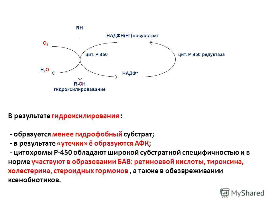 RH НАДФН(Н + ) косубстрат цит. Р-450 НАДФ + О2О2 Н2ОН2О цит. Р-450-редуктаза R-ОH гидроксилировавание В результате гидроксилирования : - образуется менее гидрофобный субстрат; - в результате «утечки» ē образуются АФК; - цитохромы Р-450 обладают широк