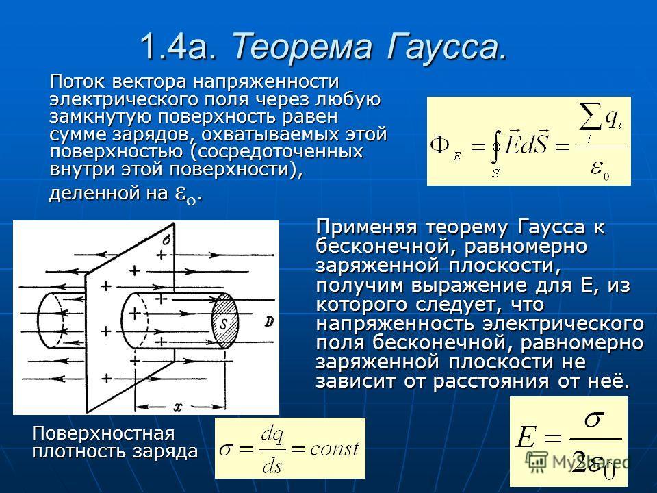 Поток вектора напряженности электрического поля через любую замкнутую поверхность равен сумме зарядов, охватываемых этой поверхностью (сосредоточенных внутри этой поверхности), деленной на. 1.4а. Теорема Гаусса. Применяя теорему Гаусса к бесконечной,