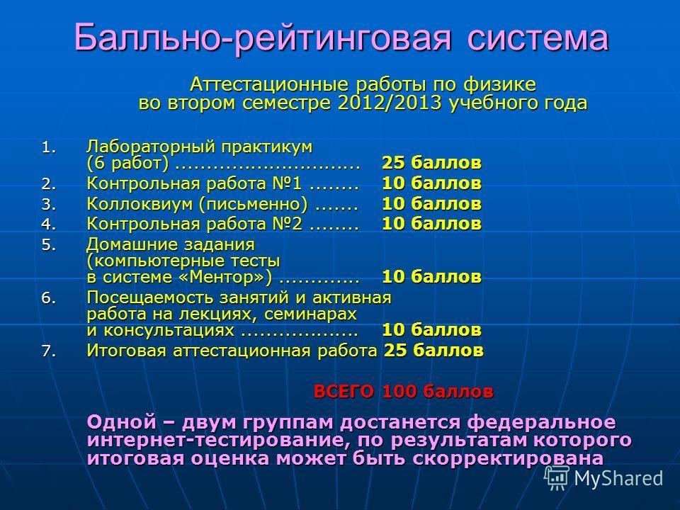 Балльно-рейтинговая система Аттестационные работы по физике во втором семестре 2012/2013 учебного года 1. Лабораторный практикум (6 работ)..............................25 баллов 2. Контрольная работа 1........10 баллов 3. Коллоквиум (письменно)......