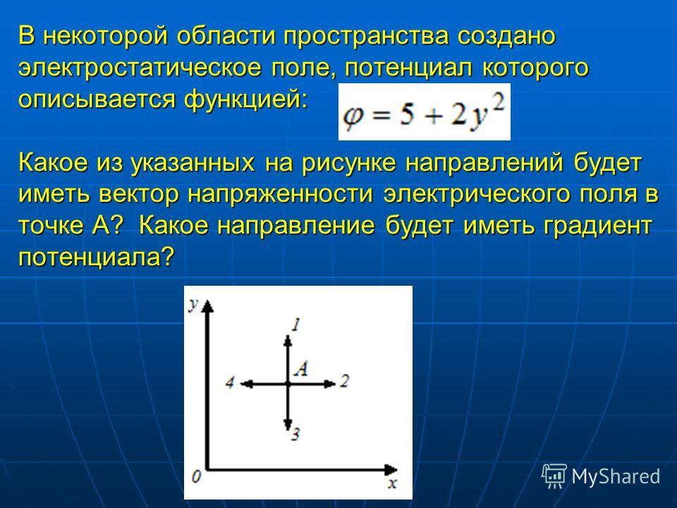 В некоторой области пространства создано электростатическое поле, потенциал которого описывается функцией: Какое из указанных на рисунке направлений будет иметь вектор напряженности электрического поля в точке А? Какое направление будет иметь градиен