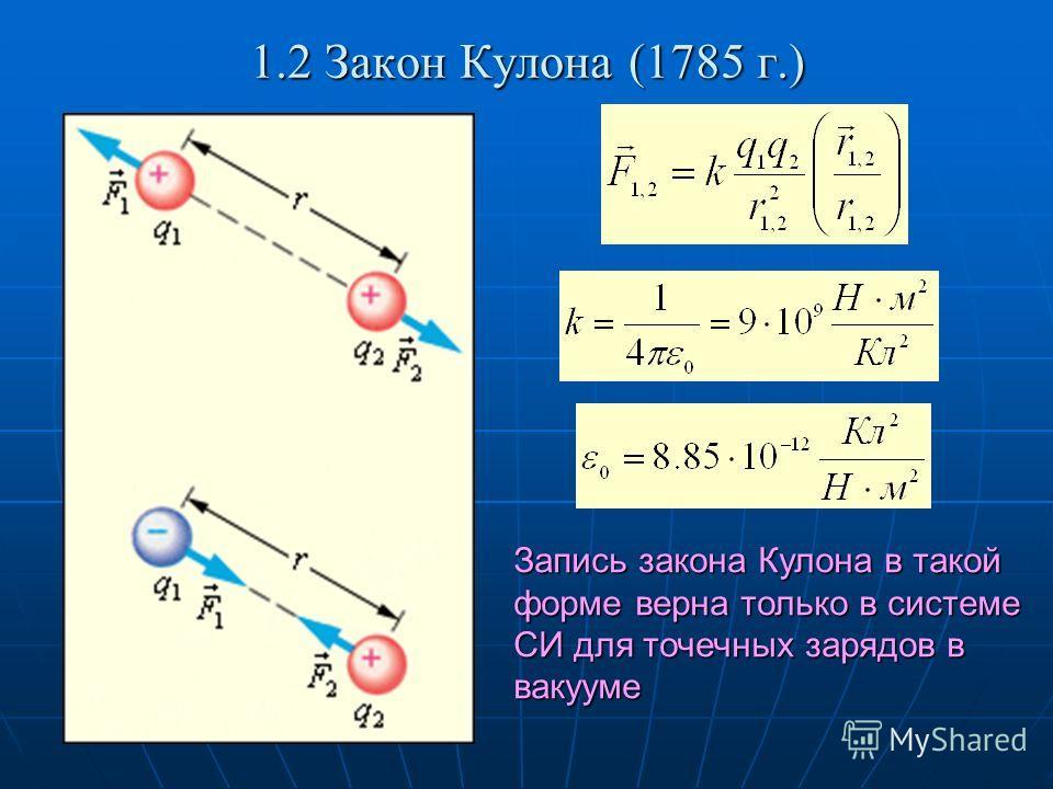 1.2 Закон Кулона (1785 г.) Запись закона Кулона в такой форме верна только в системе СИ для точечных зарядов в вакууме