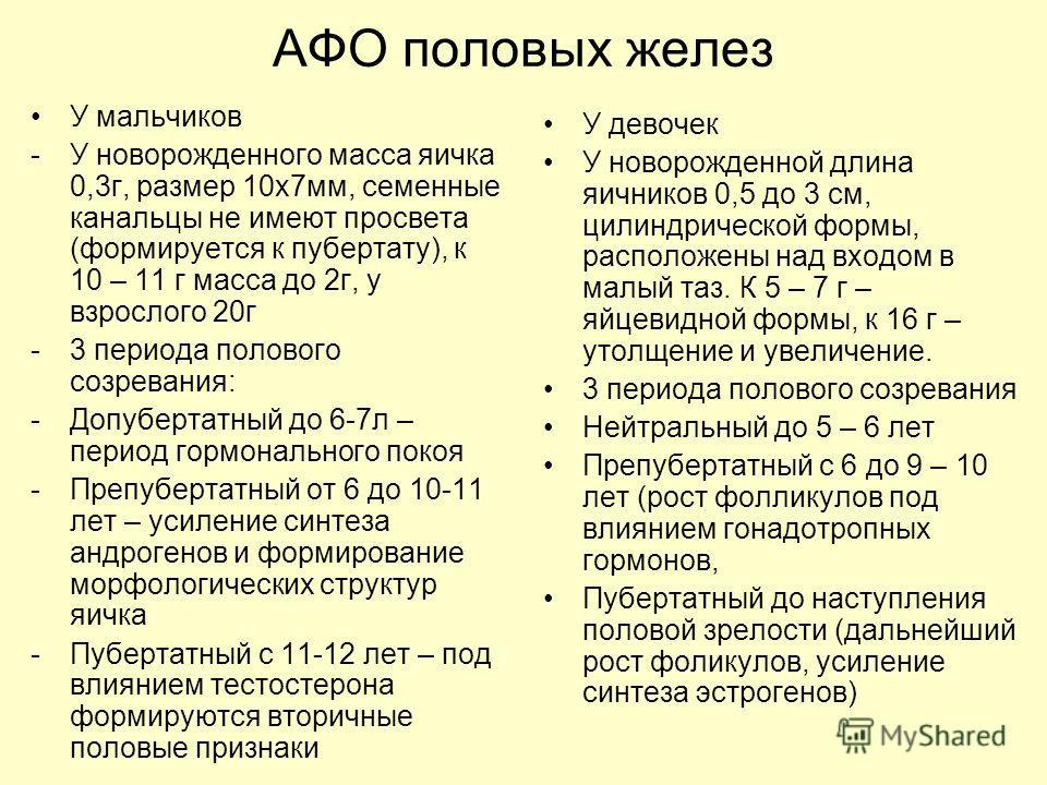 АФО половых желез У мальчиков -У новорожденного масса яичка 0,3г, размер 10х7мм, семенные канальцы не имеют просвета (формируется к пубертату), к 10 – 11 г масса до 2г, у взрослого 20г -3 периода полового созревания: -Допубертатный до 6-7л – период г