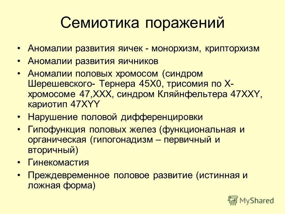 Семиотика поражений Аномалии развития яичек - монорхизм, крипторхизм Аномалии развития яичников Аномалии половых хромосом (синдром Шерешевского- Тернера 45Х0, трисомия по Х- хромосоме 47,ХХХ, синдром Кляйнфельтера 47ХХY, кариотип 47XYY Нарушение поло