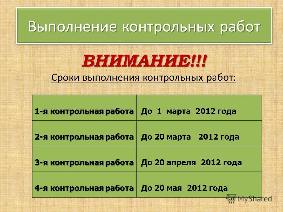 1-я контрольная работа До 1 марта 2012 года 2-я контрольная работа До 20 марта 2012 года 3-я контрольная работа До 20 апреля 2012 года 4-я контрольная работа До 20 мая 2012 года Выполнение контрольных работ ВНИМАНИЕ!!! Сроки выполнения контрольных ра