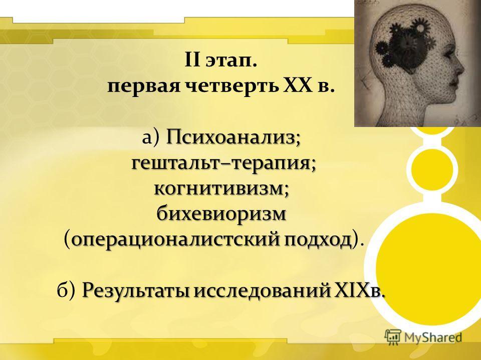 II этап. первая четверть XX в. Психоанализ; а) Психоанализ; гештальт–терапия; когнитивизм; бихевиоризм операционалистский подход бихевиоризм (операционалистский подход). Результаты исследований XIXв. б) Результаты исследований XIXв.