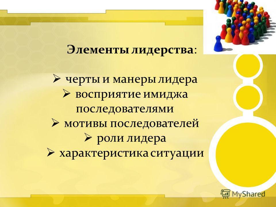 Элементы лидерства: черты и манеры лидера восприятие имиджа последователями мотивы последователей роли лидера характеристика ситуации