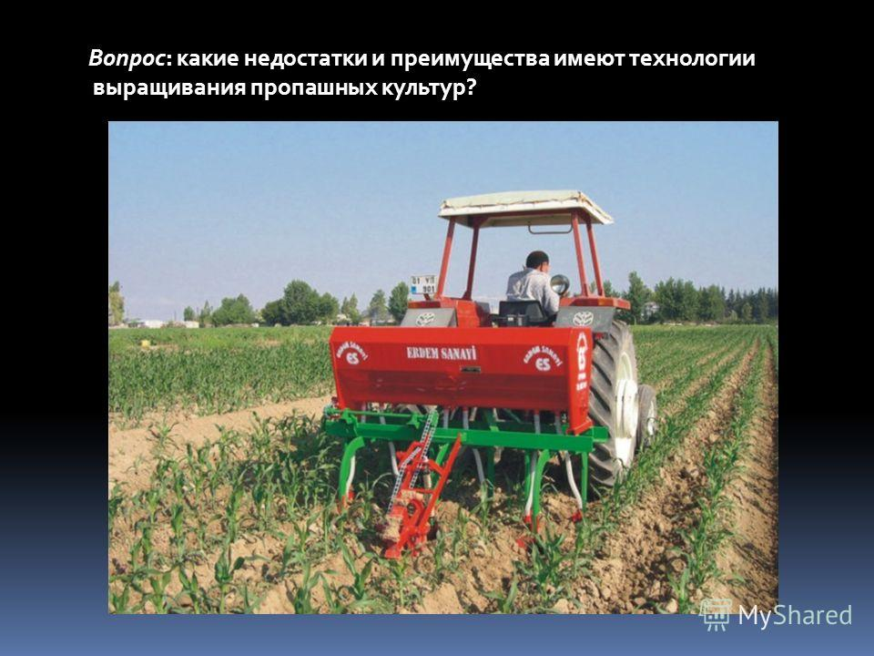 Вопрос: какие недостатки и преимущества имеют технологии выращивания пропашных культур?